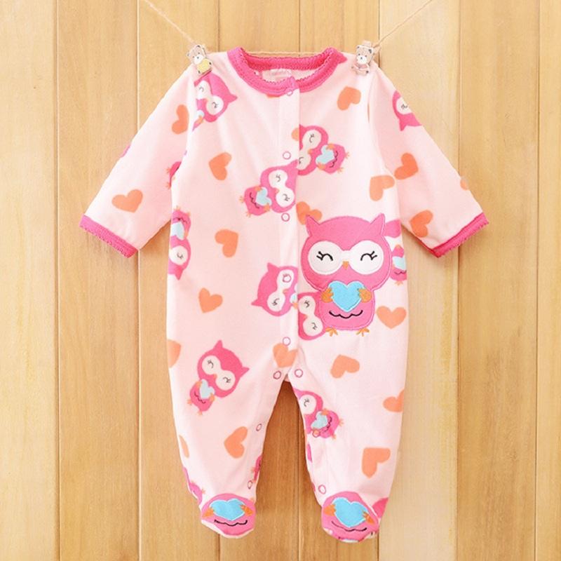 Owl Print Fleece Newborn Baby Girl Overalls Romper Macacao Bebe Body Baby Rompers New Born Baby Clothes, Size 3-12M penguin fleece body bebe baby rompers long sleeve roupas infantil newborn baby girl romper clothes infant clothing size 6m