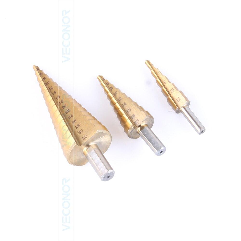 3 pcs set Titanium step drill bits HSS power drills tools 13pcs lot hss high speed steel drill bit set 1 4 hex shank 1 5 6 5mm free shipping hss twist drill bits set for power tools
