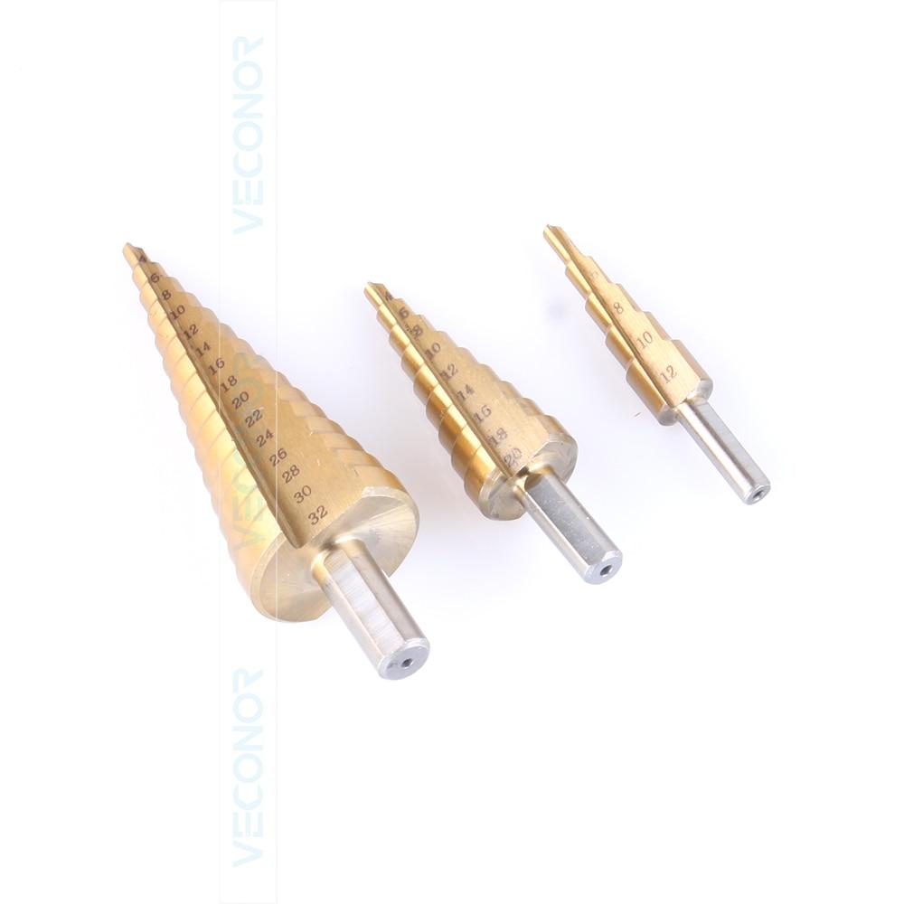3 pz set Titanium step drill bit HSS potenza trapani utensili