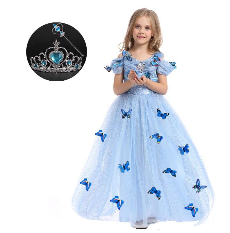Original Princess Snow White Cinderella Dresses Costumes: Blue Yellow Polyester Girls Dress Children Princess Snow