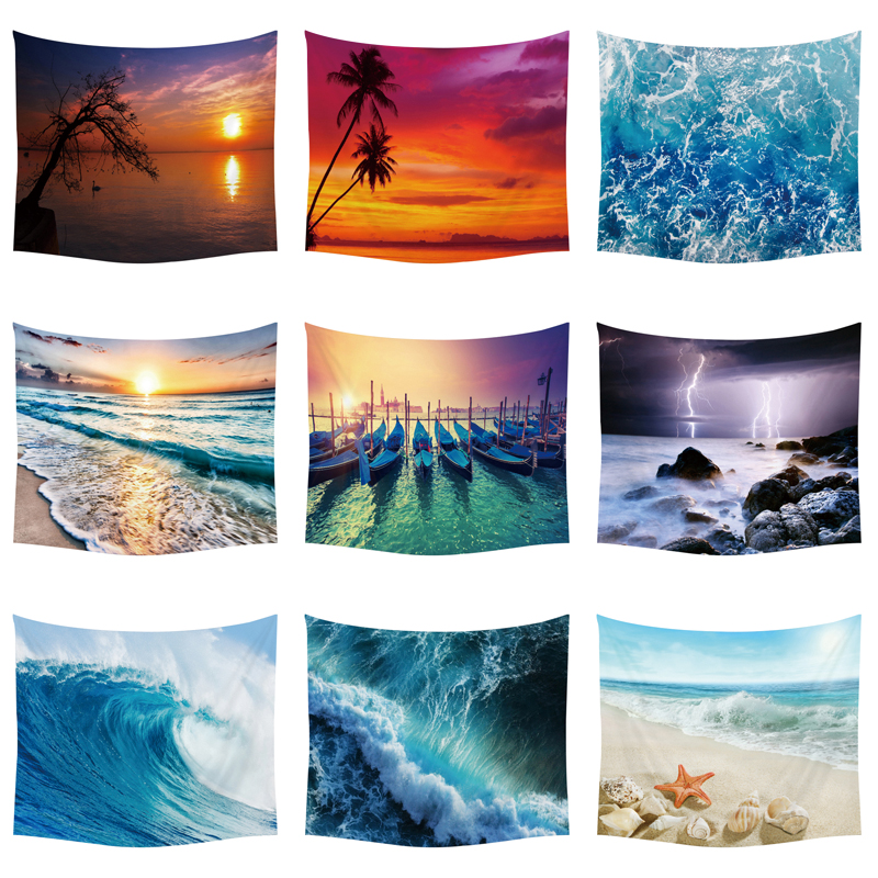 Sun Sea Tapestry Ocean Beach Wall Hanging Water Landscape Beach Decoration Blue Cloud Blue Frothy Blanket Polyester Handmade