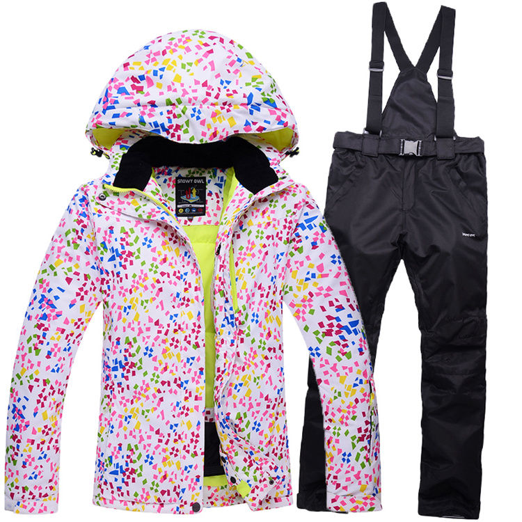 ФОТО Cheap skiing suit sets Women Ski Snowboard  Skiing Clothing -30 Coat Ski suit Jackets + Suspended pants winter outdoor customer