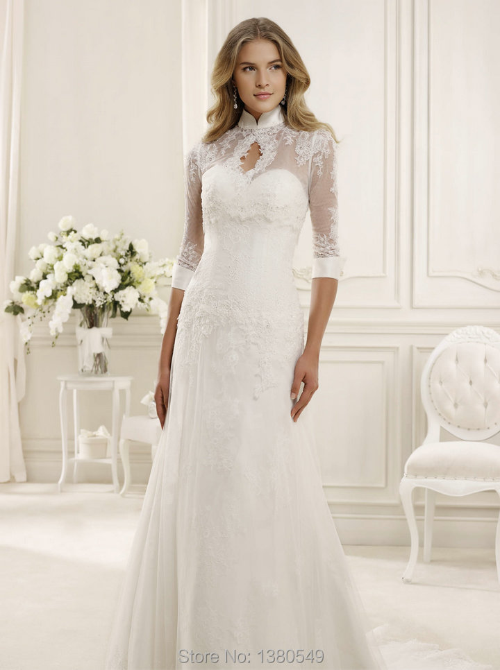 2014Simple Destination Wedding Dresses Lace Sleeve Wedding ...