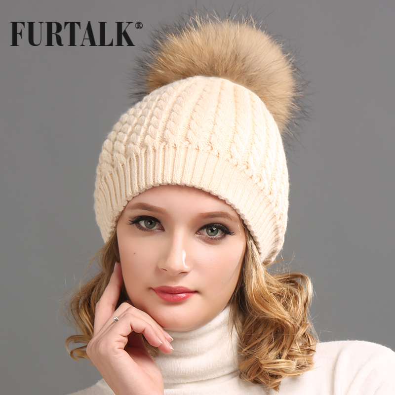 FURTALK Real Fur Hat Big Raccoon Pom Pom Hat Cashmere Wool Fox Pom bobble  hat Winter hat 9558c8805d13