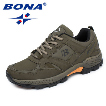 BONA New Classics Style Men Hiking Shoes Lace Up Men Athletic Shoes Outdoor Jogging Sneakers Comfortable Soft Fast Free Shipping bona new classics style men walking shoes lace up men athletic shoes outdoor jogging sneakers comfortable soft free shipping