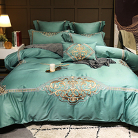 Роскошные зеленый насыщенный 100 s Египетский хлопок, вышивка, постельных комплектов queen Королевский пододеяльник простыня комплект наволоч