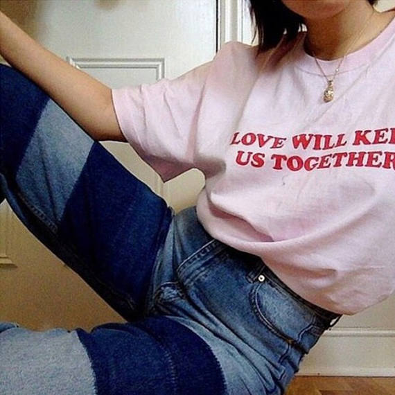 New Arrive Casual Cotton Tees Love Will Keep Us Together T-Shirt Red Letter Print top Girl like pink Outfits Women Clothes shirt