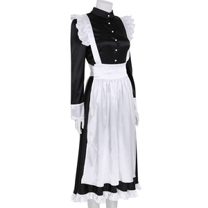 Image 3 - Sexy Adult Woman French Maid Servant Cosplay Costume Black&White Maid Costume Halloween Party Long Dress  + Apron + Headpiece