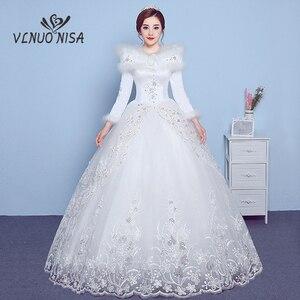 Image 1 - VLNUO NISA 긴 소매 겨울 웨딩 드레스와 목도리 레이스 Appliques 스팽글 보이지 않는 지퍼 신부 가운 Vestido De Novias 20