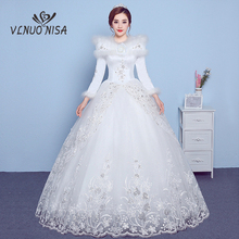 VLNUO NISA Long Sleeves Winter Wedding Dress with Shawl Lace Appliques Sequin Invisible zipper Bridal Gowns Vestido De Novias 20