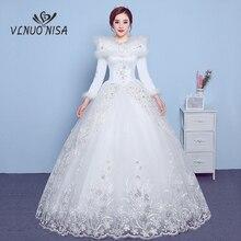 VLNUO NISA uzun kollu kış düğün elbisesi şal dantel aplikler pullu görünmez fermuar gelinlikler Vestido De Novias 20