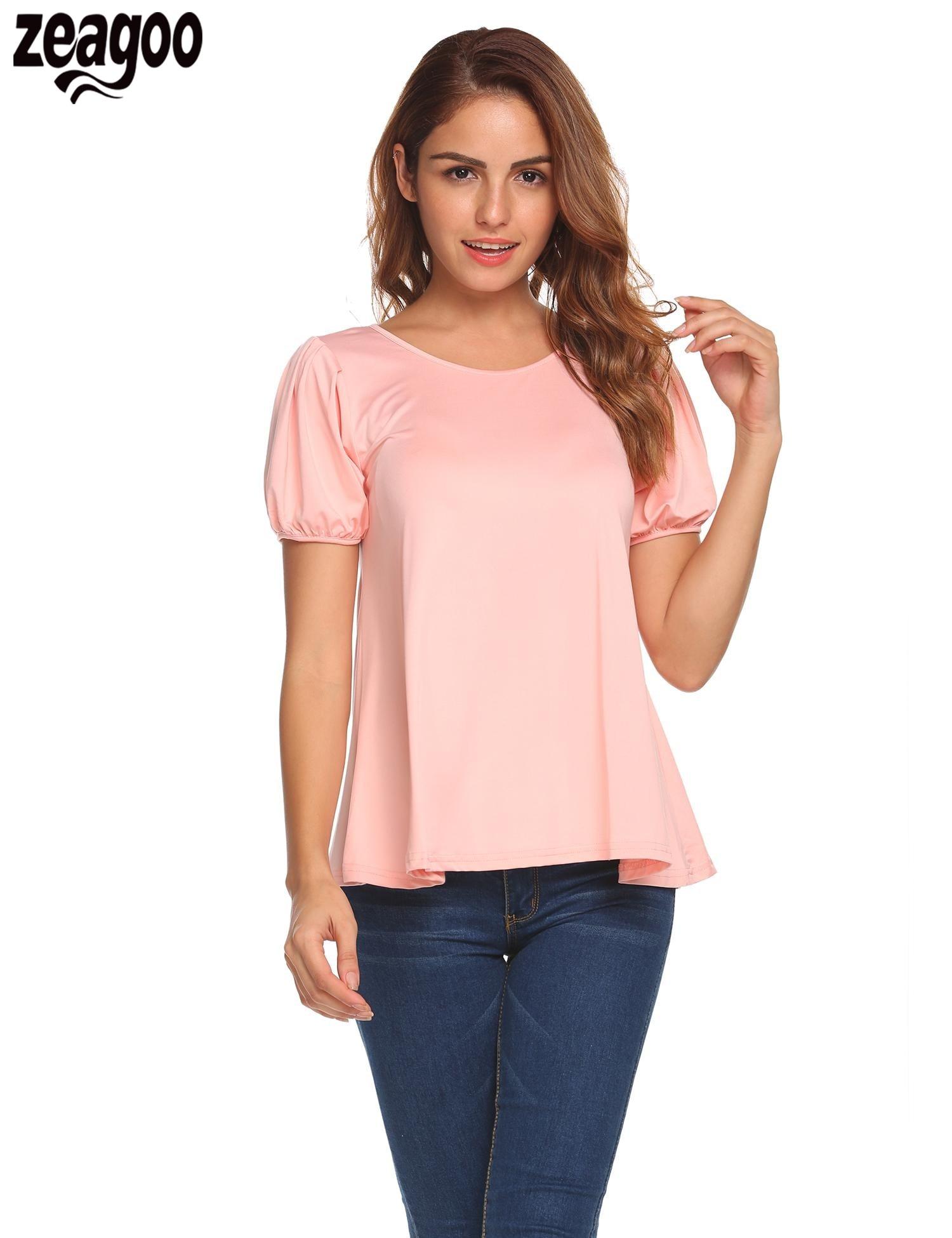 Zeagoo 2018 Summer T shirt Women Fashion O-Neck Lantern Short Sleeve Solid Pullover T-Shirts Women Tops S-XXXL Plus Size