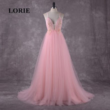 LORIE Pink Wedding Dress Boho Wedding Gown Appliques Backless Spaghetti Strap Tulle Custom Made Free Shipping Bride Dresses 2018(China)
