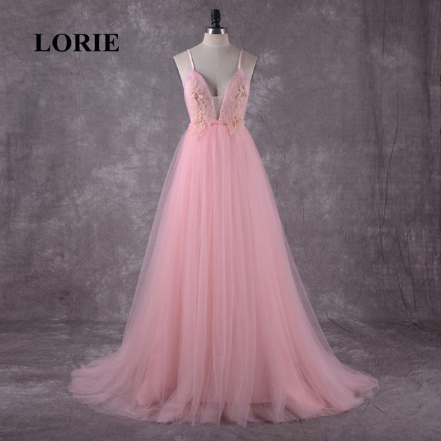 LORIE Pink Wedding Dress Boho Wedding Gown Appliques Backless Spaghetti  Strap Tulle Custom Made Free Shipping 8425a8944