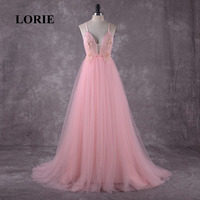 LORIE Pink Wedding Dress Boho Wedding Gown Appliques Backless Spaghetti Strap Tulle Custom Made Free Shipping Bride Dresses 2018