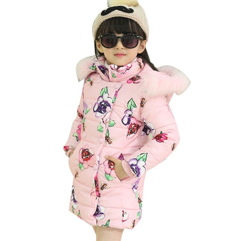 ec2ea61a7d39 girls winter jacket Korean 5 13 years old girls down coats girl winter fur  collar children s parkas hot Flower print hooded-in Down   Parkas from  Mother ...