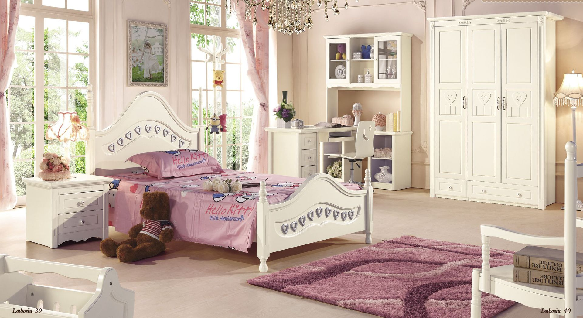 Princess Solid Wood Bedroom Furniture Childrens Bed Kids Beds - Childrens bedroom furniture cheap prices