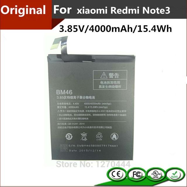 4000mAh/15.4Wh High Capacity Original RedMi Note3 BM46 Battery For Xiaomi RedMi Note 3 Mobile Phone Baterai Batterij