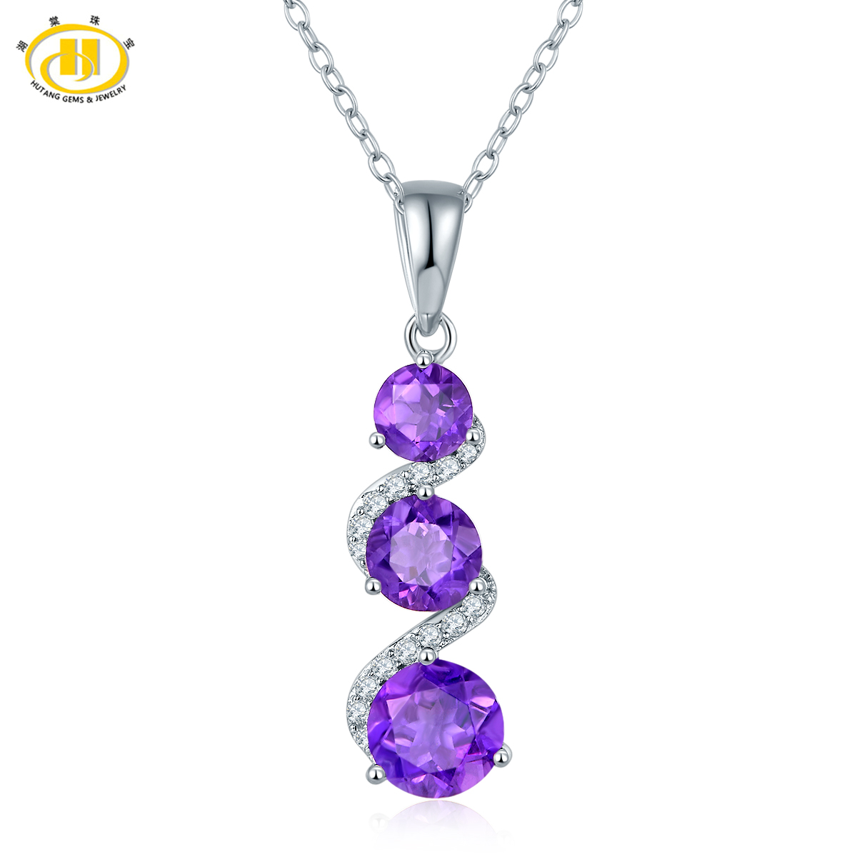 Hutang Classic 3-stone Natural Amethyst Pendant Necklaces Solid 925 Sterling Silver Gemstone Fine Jewelry New Style For Women