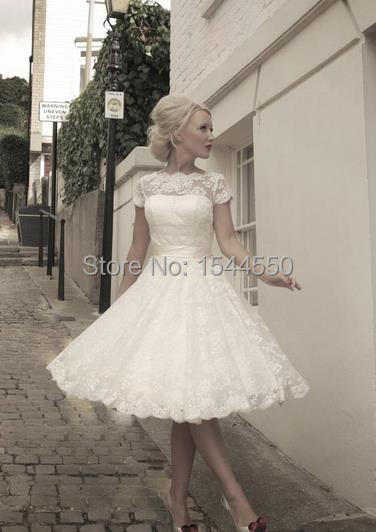 Y Beach Sheer Sleeve Wedding Dresses White Ivory Vintage Tea Length Dress Lace Covered
