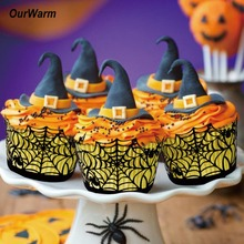 OurWarm 12pcs Halloween Black Party Cupcake Wrappers Spider Witch Castle Laser Cut Cake Decorations Christmas Event Supplies