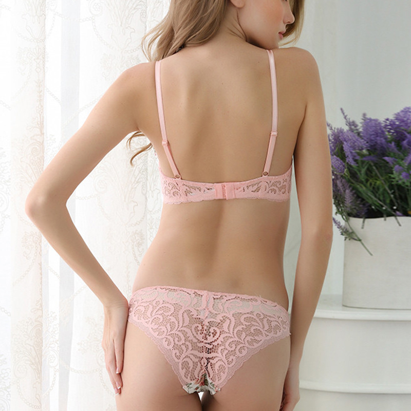 Vintage Underwear Women Set Bow Rose Satin panties Bra sets Thick Push Up Bra Set Lace Hollow Out Sexy Lingerie Printing Fashion