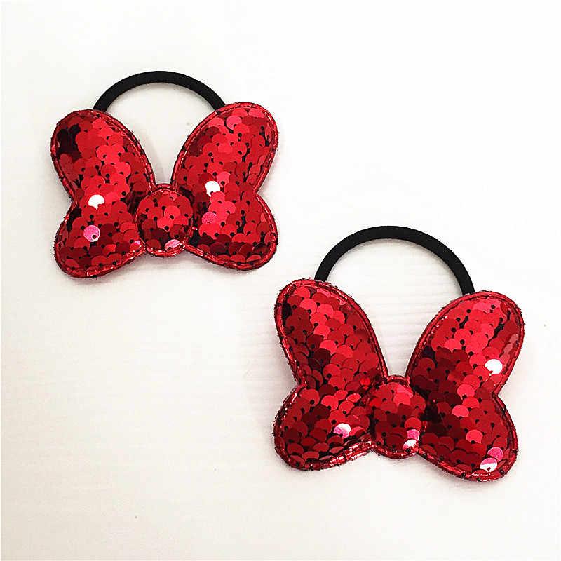 Bande de cheveux à paillettes pour enfants | 2 pièces, bande de cheveux, populaire couleur retournée échelle de poisson, élasticité circulaire des cheveux, accessoires pour cheveux à paillettes