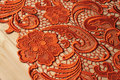 Orange spitze stoff  venise  gehäkelte retro floral braut spitze  hochzeit spitze stoff|orange lace|orange lace fabricwedding lace fabric -