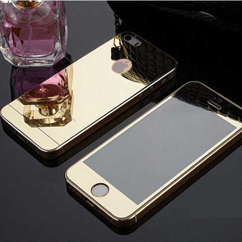 Переднее и заднее стекло для iphone 4 4s 5 5s SE 6 6s 0,26 мм, высококачественное закаленное стекло, металлический дизайн, зеркало, красочный полноэкран...
