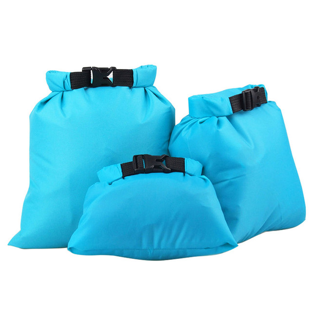 3pcs 1 Set Outdoor Waterproof Dry Storage Bag Swimming Bag Sack Pouch Ultralight Portable Outdoor Travel Rafting Bag