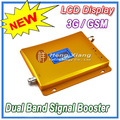 LCD Display !!! GSM 900Mhz + 3G W-CDMA 2100MHz Dual Band Mobile Phone Signal Booster , 2G 3G Cell Phone Signal Repeater + Power