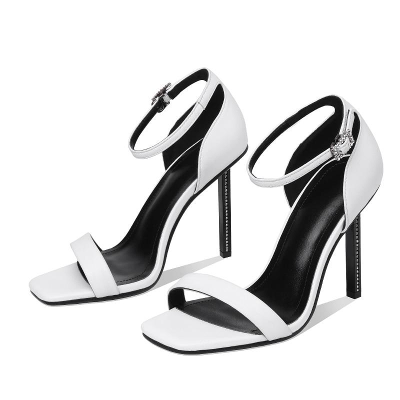 Dedo Negro Zapatos Wetkiss Mujeres Tobillo Abierto Correa Moda Alto Mujer Vaca Calzado Tacón Del Sandalias Pie Cuero blanco Verano 2019 De qwgqH0Of