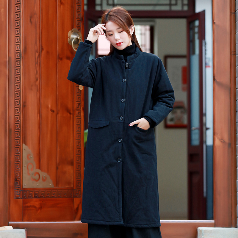 2018 female long design outwear single breasted cotton padded coat thick overcoat wide waisted outer garment
