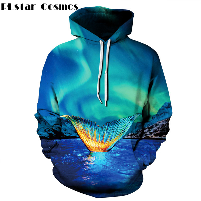PLstar Cosmos 3D Print Cartoon Movie Fish Mermaid Hoodies Men/Women Blue Sweatshirt Pullovers Autumn Spring Streetwear Unisex
