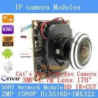 IP Camera Module IMX322 2.0MP 1080 P 360 Graden Groothoek Fisheye Panoramische Camera Infrarood Bewakingscamera 1.7mm HD lens