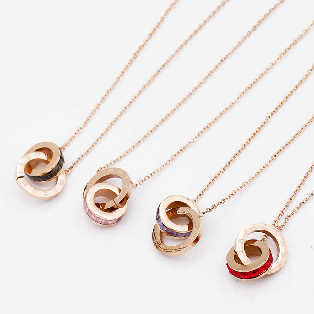 Wholesale 5 Colors Double Circle Stainless Steel Titanium Necklace Zircon Roman Numerals Necklaces For Women Band Jewelry