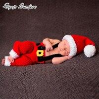 Bé Ở Santa Claus Cosplay Sơ Sinh Photography Props Giáng Sinh Năm Mới Sạn Holiday Quần Áo Bé Dễ Thương Ảnh Đạo Cụ Crochet Knit Trang Phục