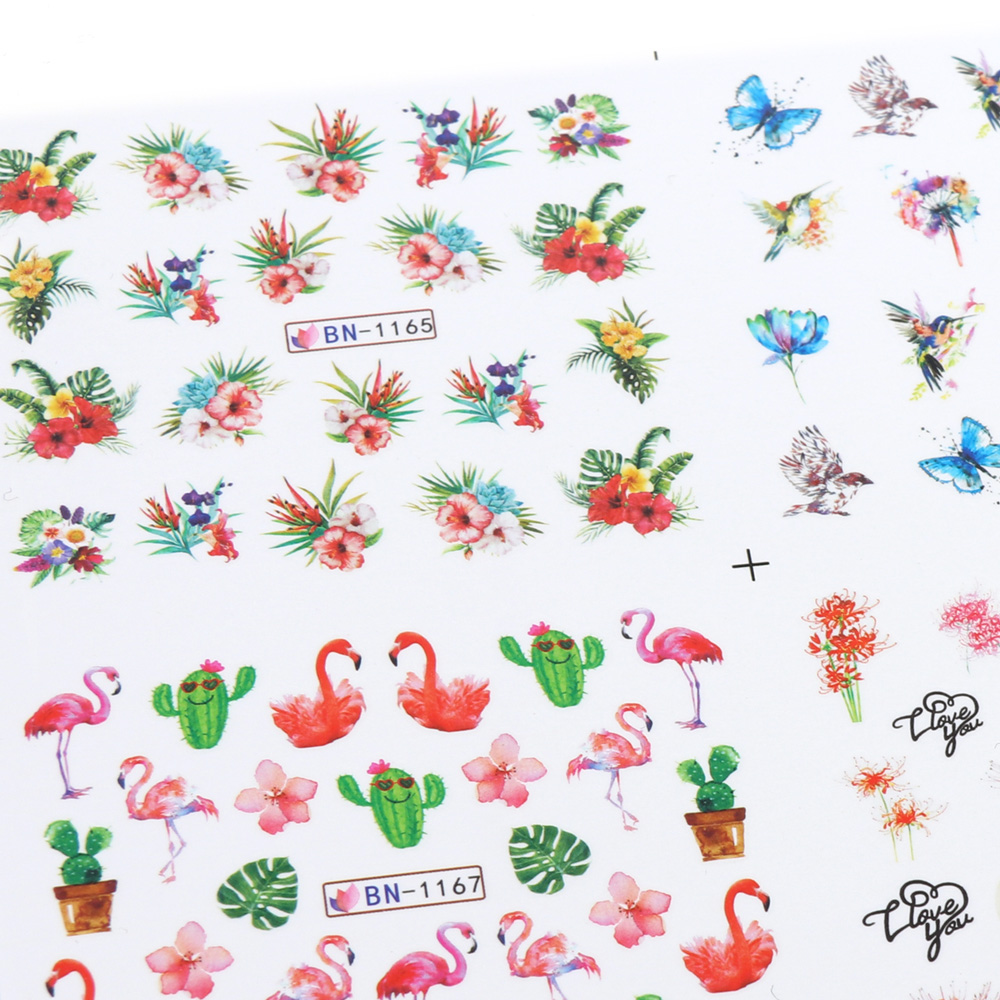 Nail Stickers Cat Flowers Flamingo Animal Water Transfer Decals Tattoo Decoration Foils Wraps Manicure Accessories (1)