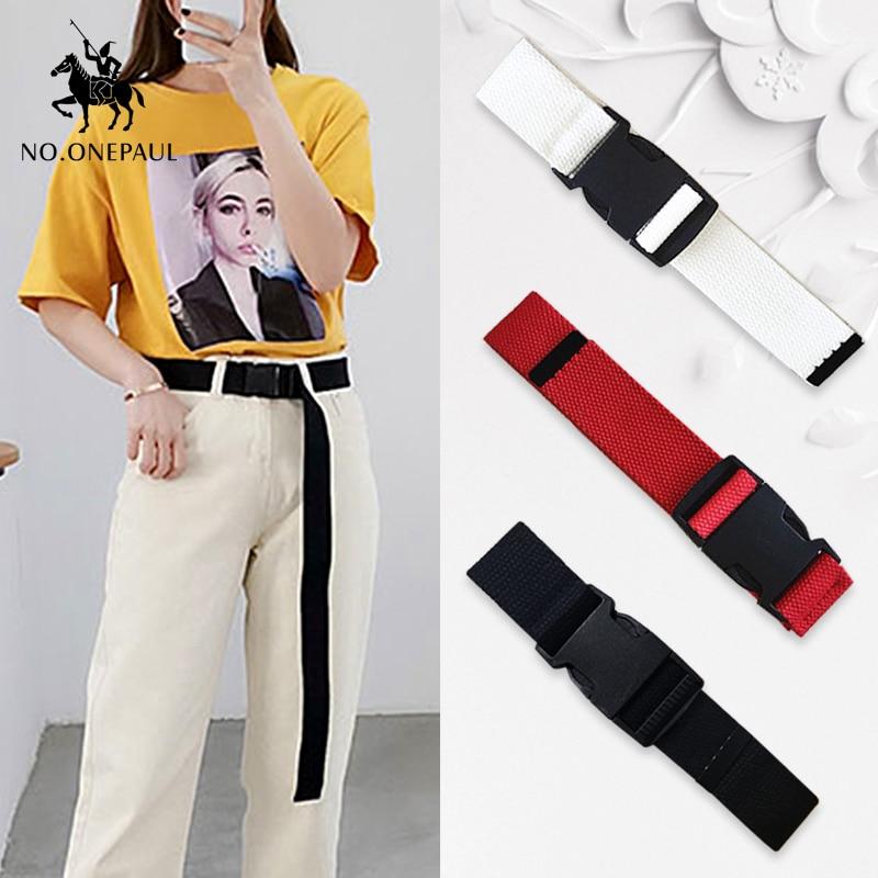 NO.ONEPAUL Cloth Buckle Tactical-Belt Can-Adjust Comfortable Trend Women Casual Brand Luxury