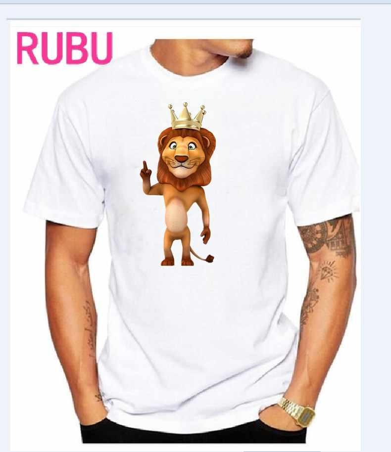 Новинка 2017 года; Мужская модная футболка; белая футболка с 3D принтом; Летние повседневные футболки с короткими рукавами с принтом льва и короны; U1235