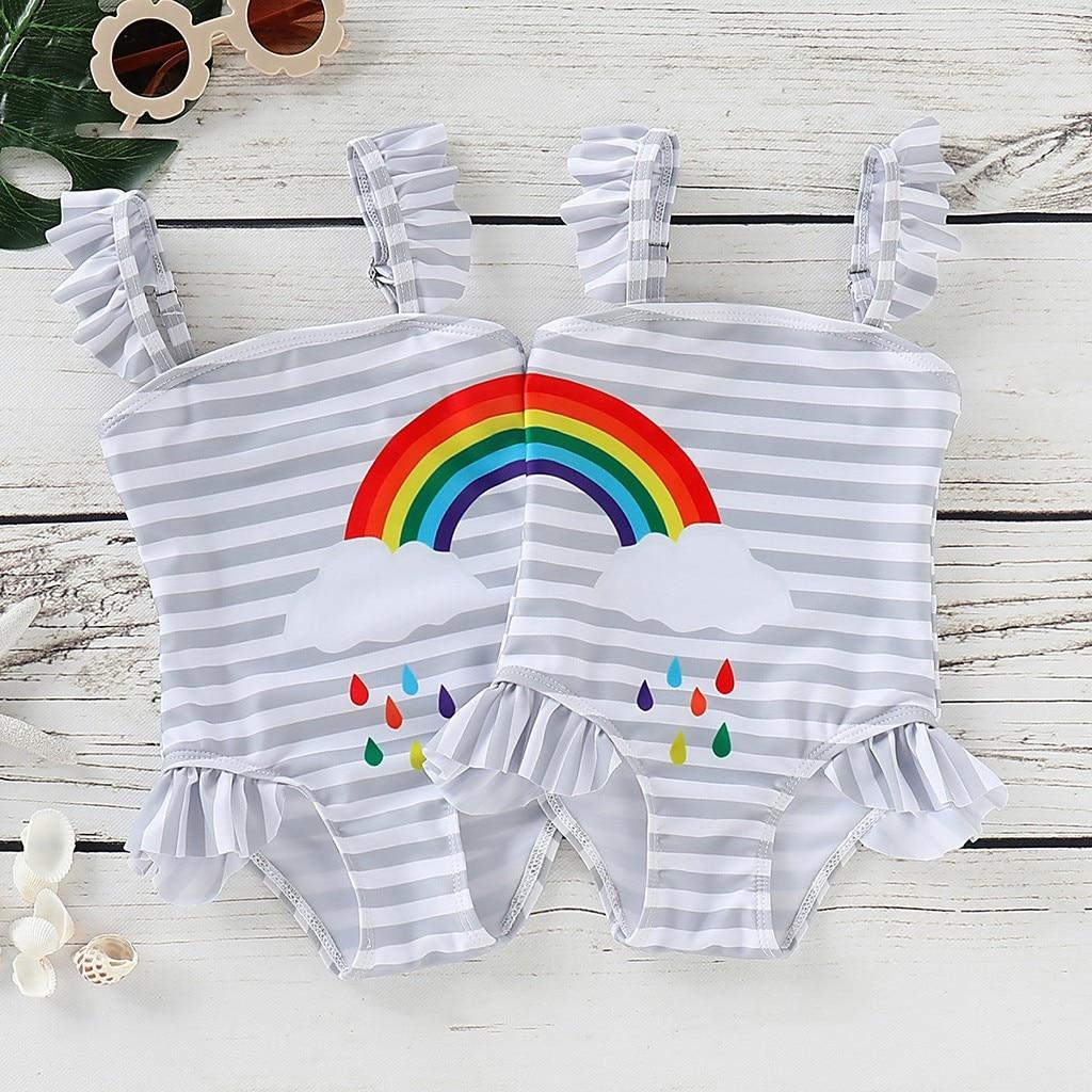Baby Girl Swimsuit One-piece Stripe Girl Swimwears Beach Bathing Suit Rainbow Printed Toddler Swimwear Badmode Meisjes M08#3 Durable Modeling Lights & Lighting