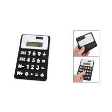 LHLL New Black White 8 Digits Refrigerator Magnetic Silicone Foldable Calculator