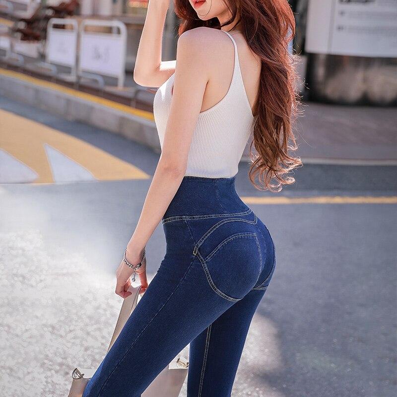 Dabuwawa Women Autumn   Jeans   Blue Elastic High Waist Pencil Pants 2018 Office Lady New Skinny Thin Zipper   Jeans   Trouser