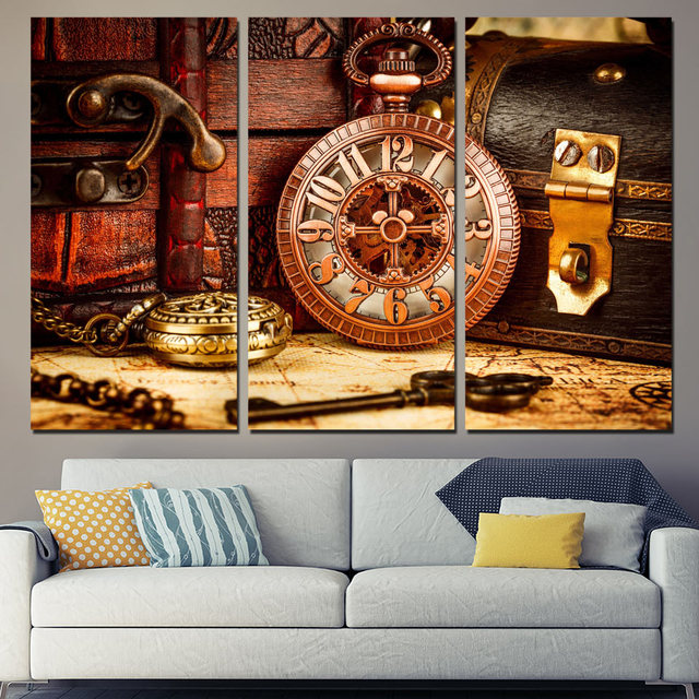 Limited 3 Panels Canvas Art Vintage Watch Box Key Home Decor Wall Painting Prints Pictures