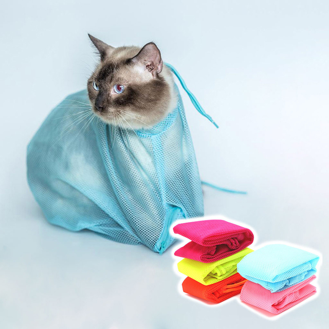 Mesh Pet Cat Grooming Restraint Bag For Bath Washing Nails Cutting Cleaning Bags Polyester
