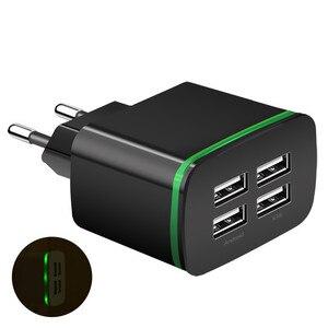 Image 4 - Cargador USB para iPhone Samsung Android 5 V 2A 4 puertos de teléfono móvil Universal de carga rápida de luz LED de pared adaptador de cargador de pared usb