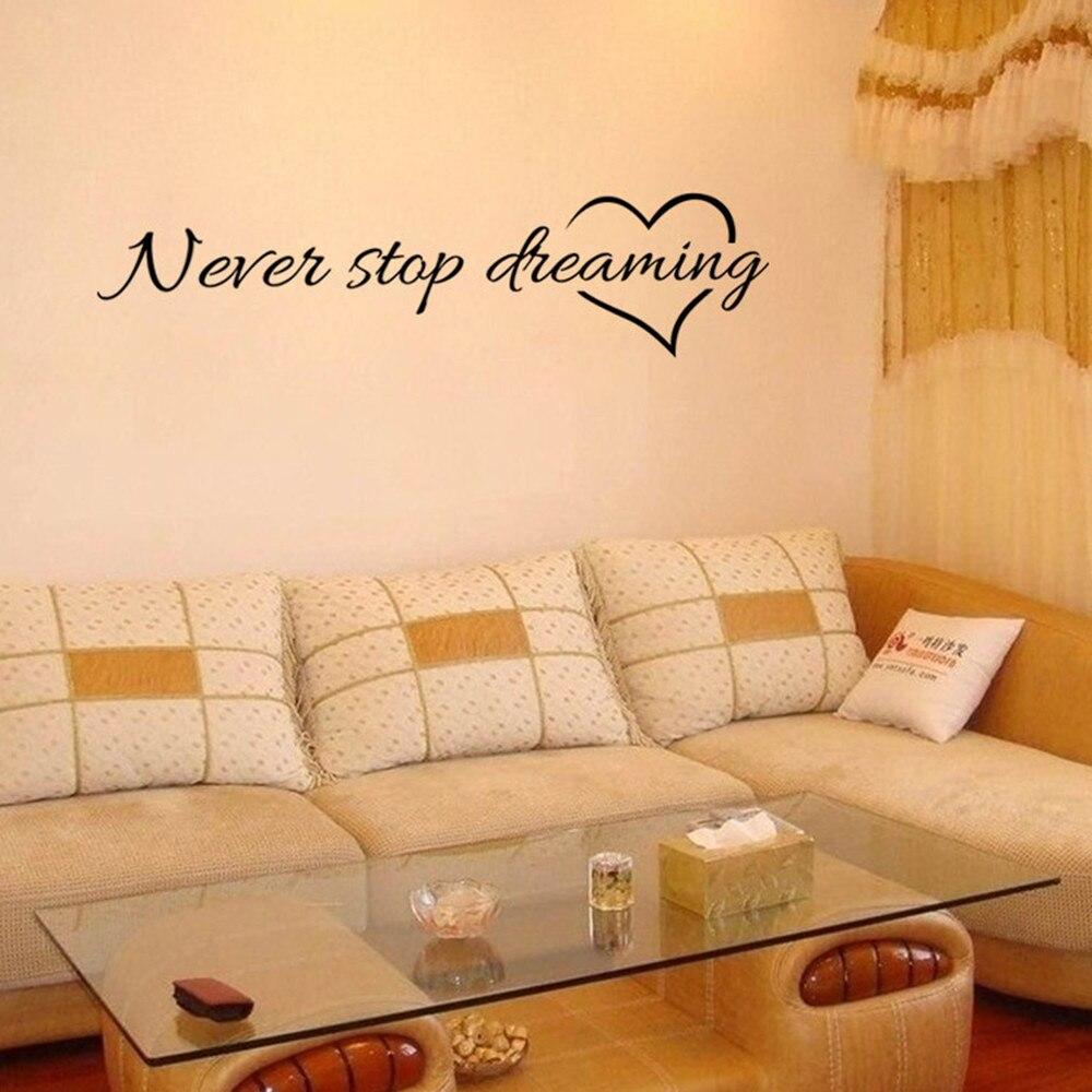 Never Stop Dreaming Removable Art Vinyl Mural Home Room Decor Wall Stickers Inspiring Sentence Wall Sticker
