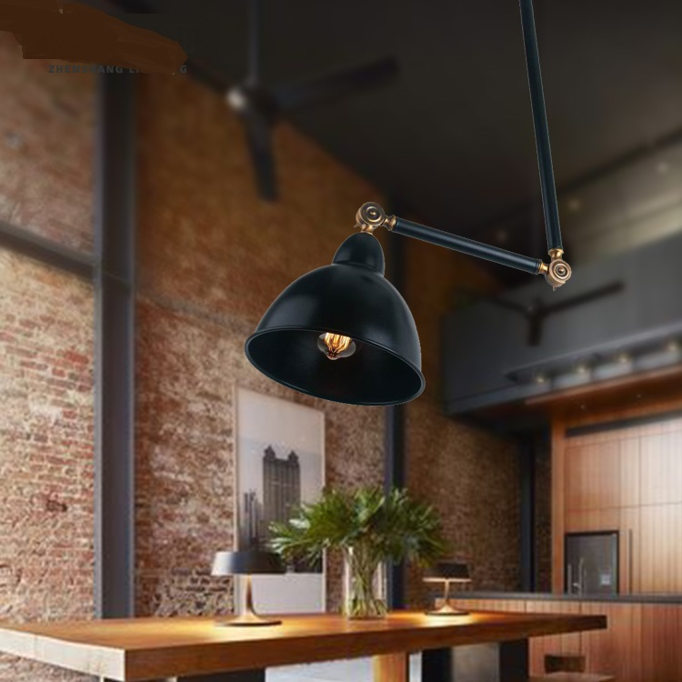 Personality American Pendant Lights creative black iron robotic arm universal bar table restaurant deck industrial retro lamps retro matte black iron ceiling light american industrial iron lights