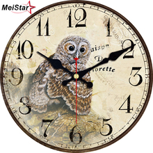 hot deal buy meistar vintage wooden design clocks silent home decor room decoration watches home decor retro large wall clock 6 inch (15 cm)
