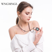 WNGMNGL 2018 New Women Pendant Necklace Wood Resin Natural Stone Charm Statement Long Drop Necklace For Women Fashion Jewelry wngmngl 2018 new women long necklace christmas party crystal doll pendant necklace for women charm statement fashion jewelry
